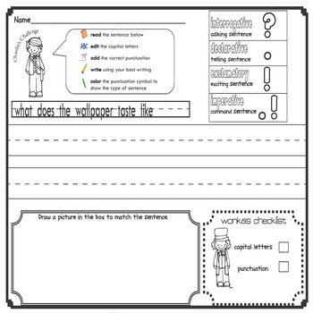 Charlie and the Chocolate Factory Handwriting Packet {types of sentences}