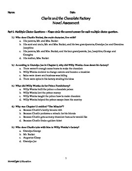 Charlie and the Chocolate Factory: Novel Assessment and Answer Key