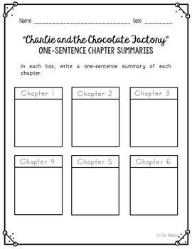 Charlie and the Chocolate Factory Novel Unit Study Activities, Book Companion