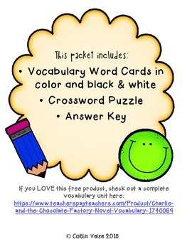 Charlie and the Chocolate Factory Novel Vocab Word Cards