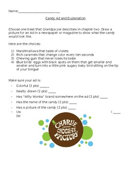 Charlie and the Chocolate Factory Project Ch. 1-2 EDITABLE