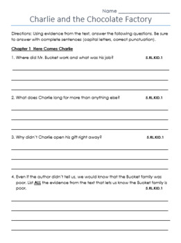 Charlie and the Chocolate Factory Questions Chap. 1, 17, 21, 24 & 27