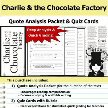 Charlie and the Chocolate Factory - Quote Analysis & Reading Quizzes