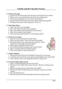 Charlie and the Chocolate Factory - Reading Comprehension Questions