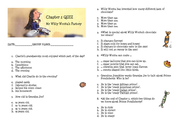 Charlie and the Chocolate Factory Reading Quizes
