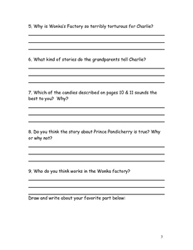 Charlie and the Chocolate Factory Roald Dahl Reading Comprehension Packet