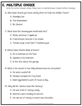 Charlie and the Chocolate Factory Test: Final Book Quiz with Answer Key