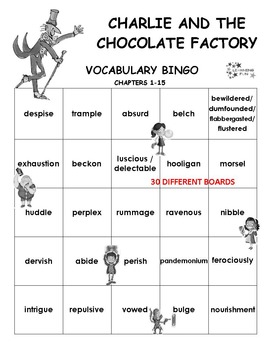 Charlie and the Chocolate Factory Vocabulary bingo
