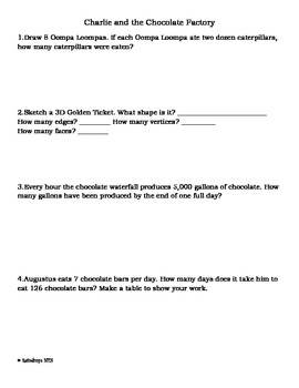 Charlie and the Chocolate Factory Word Problems