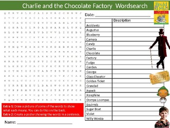 Charlie and the Chocolate Factory Wordsearch Sheet Keywords English Literature