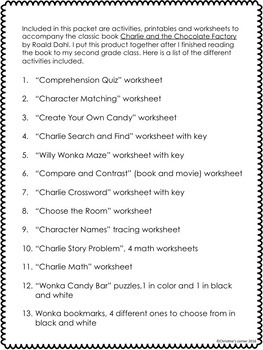 and the Chocolate Factory activities, End of book worksheets