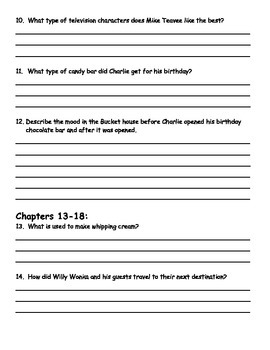 Charlie and the Chocolate Factory by Roald Dahl Comprehension Packet