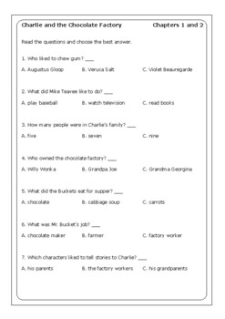 """Roald Dahl """"Charlie and the Chocolate Factory"""" worksheets"""