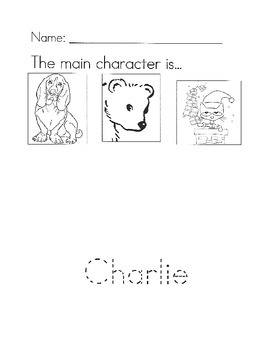 Charlie and the Christmas Kitty main character worksheet