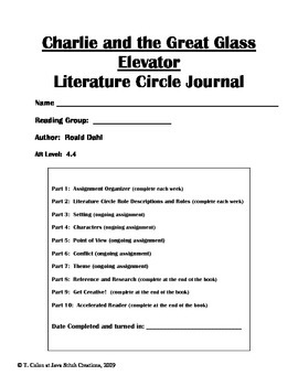 Charlie and the Great Glass Elevator Literature Circle Journal Student Packet