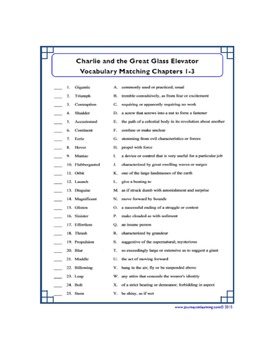 Charlie and the Great Glass Elevator Vocabulary Matching