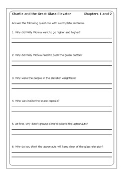 Charlie And The Great Glass Elevator Worksheets