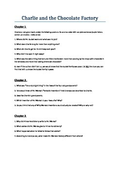 Charlie and the chocolate factory questions based on each chapter.