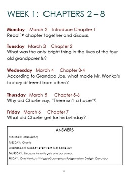 Charlie & the Chocolate Factory 5 week Reading Packet