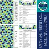Charlotte Danielson Based TESS Binder: Navy, Lime, Aqua