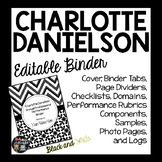 CHARLOTTE DANIELSON EDITABLE BINDER ORGANIZER: BLACK AND WHITE THEME