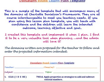 Charlotte Danielson Lesson Plan Template: A Sweet Design for the Teacher!
