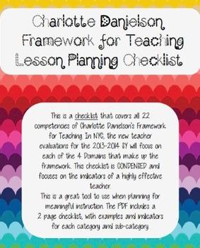 Charlotte Danielson Lesson Planning Checklist All Domains