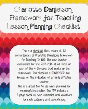 Charlotte Danielson Lesson Planning Checklist All Domains