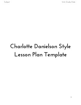 Charlotte Danielson Style Lesson Plan Template By The Sound Of - Danielson lesson plan template doc