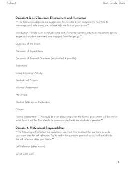 Charlotte Danielson Style Lesson Plan Template