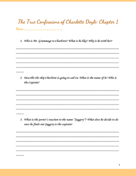 Charlotte Doyle Chapter 1-22 Questions