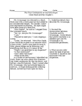 Charlotte Doyle Close Read worksheets