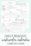 Charlotte Mason Quotes Watercolor Calendar