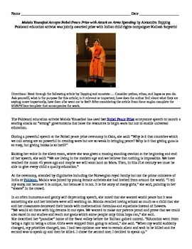 "Charlotte Perkins Gilman: Informational Text - ""Malala Accepts Nobel Prize"""