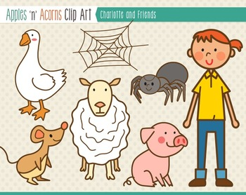 Charlotte and Friends Clip Art - color and outlines