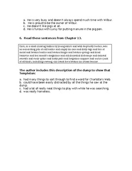 Charlotte's WEB STAAR Stem Questions Chapter 12-13