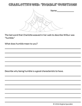 Charlotte's Web Acrostic Poems and Short Answer Questions