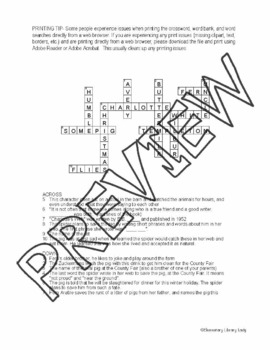 Charlotte's Web Activities E. B. White Crossword & Word Search