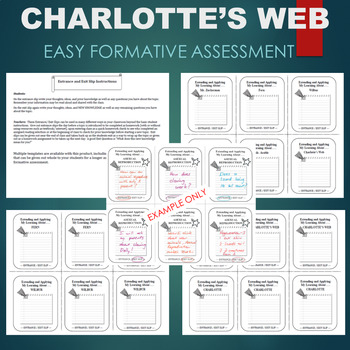 Charlotte's Web Activity - ENTRANCE AND EXIT SLIP