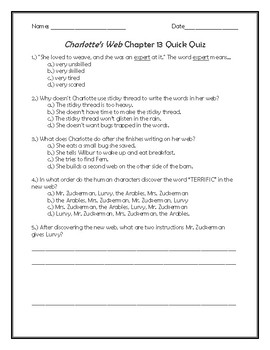 Charlotte's Web Chapter 13 Quick Quiz