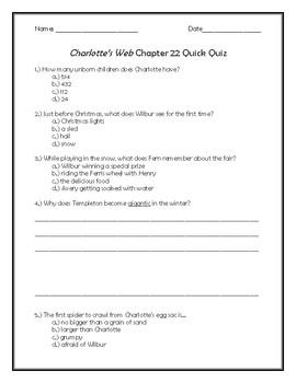 Charlotte's Web Chapter 22 Quick Quiz