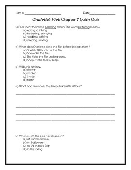 Charlotte's Web Chapter 7 Quick Quiz