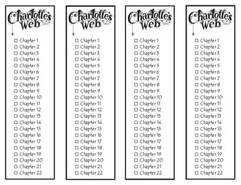 Charlotte's Web Chapter Checklist Bookmarks