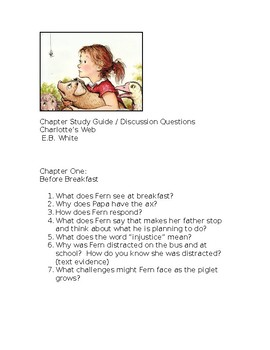Charlotte's Web Chapter One study and discussion guide