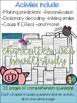Charlotte's Web Novel Study- Reading Comprehension - Story Elements