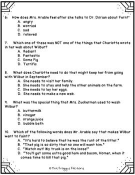 Charlotte's Web Test - Chapters 12-16