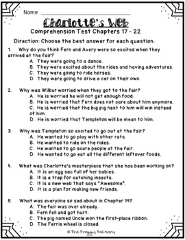 Charlotte's Web Test - Chapters 17-22