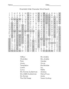 Charlotte's Web Character Word Search