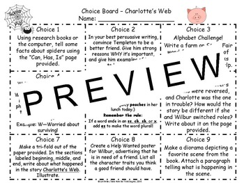 Reading and Writing Response Choice Board for Charlotte's Web