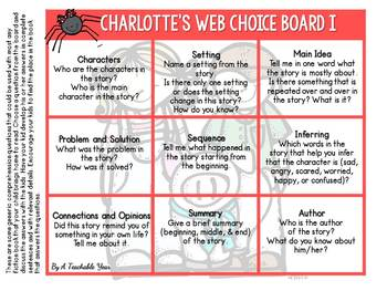 Charlotte's Web Choice Board {Free}